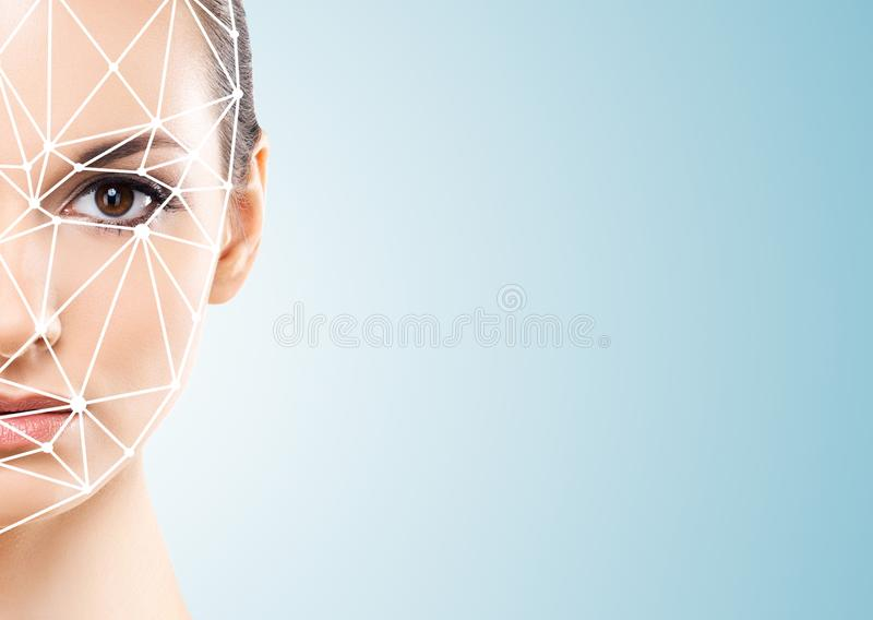 Portret van aantrekkelijke vrouw met een scnanning net op haar gezicht Gezichtsidentiteitskaart, veiligheid, gezichtserkenning, t stock foto