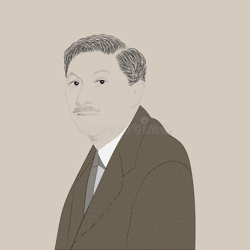 Portret van Abraham Maslow vector illustratie
