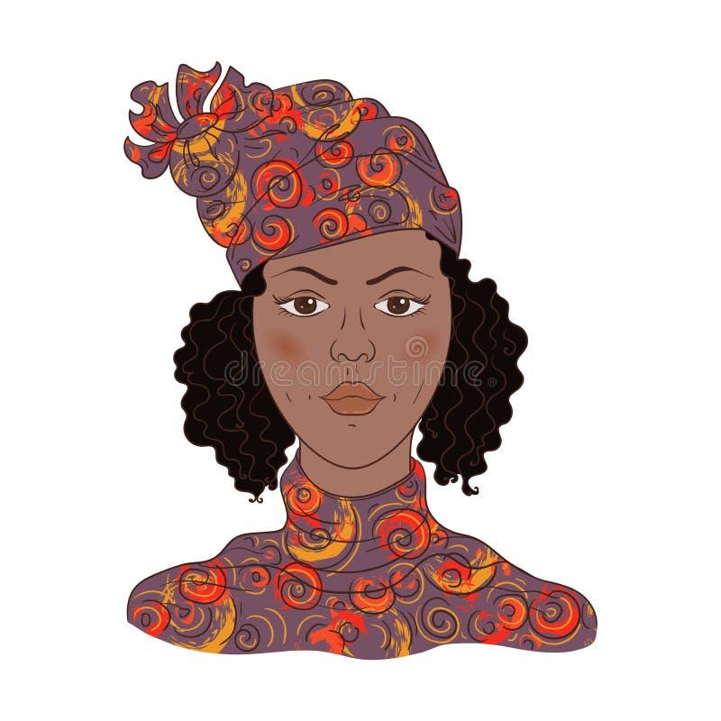 Portret van Afrikaanse vrouw met retro kapsel royalty-vrije illustratie