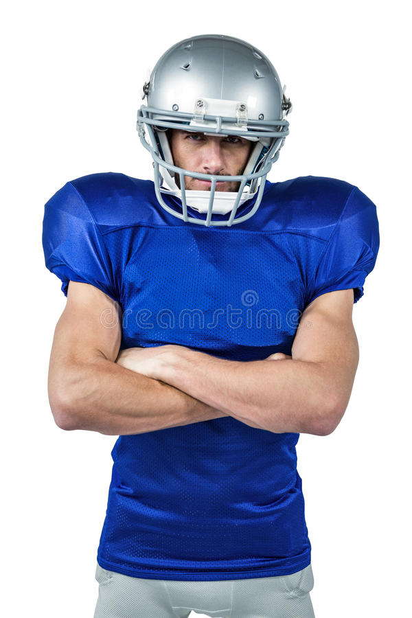 Portret van Amerikaanse voetbalster met gekruiste wapens stock afbeelding