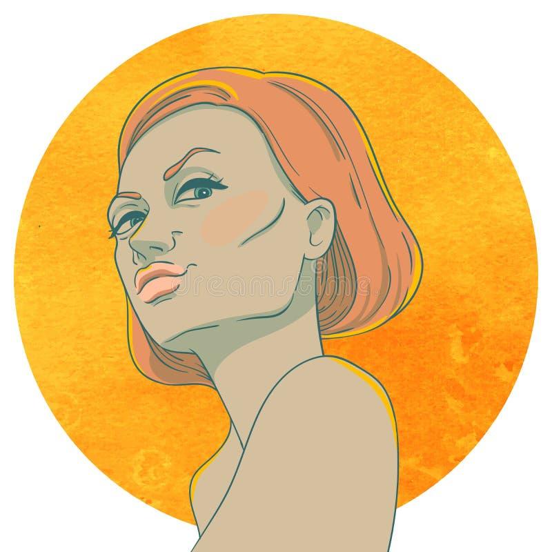 Portret van arrogant jong meisje met rood haar stock illustratie