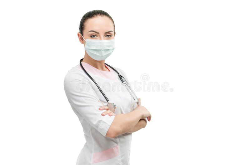 Portret van arts van witte achtergrond wordt geïsoleerd die stock foto's