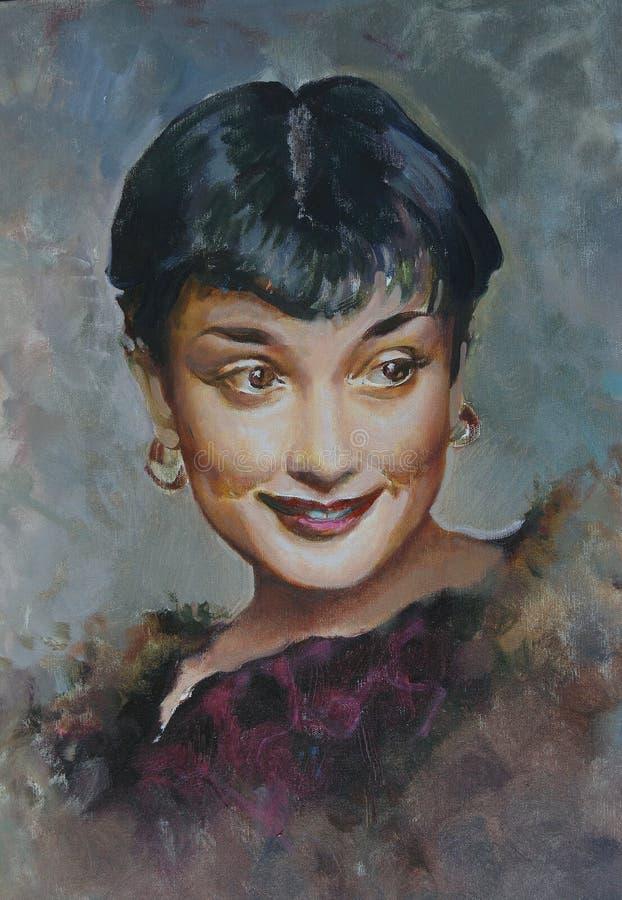 Portret van Audrey Hepburn, het schilderen royalty-vrije stock afbeelding