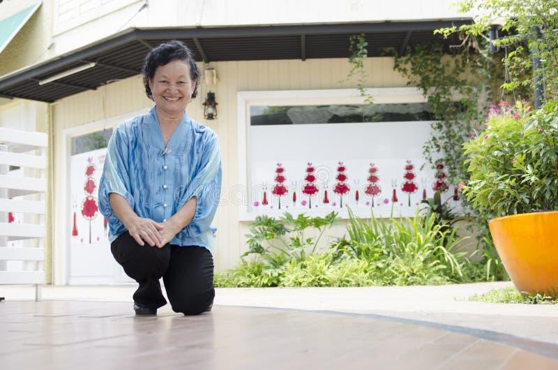 Portret van Aziatische bejaarden stock afbeelding