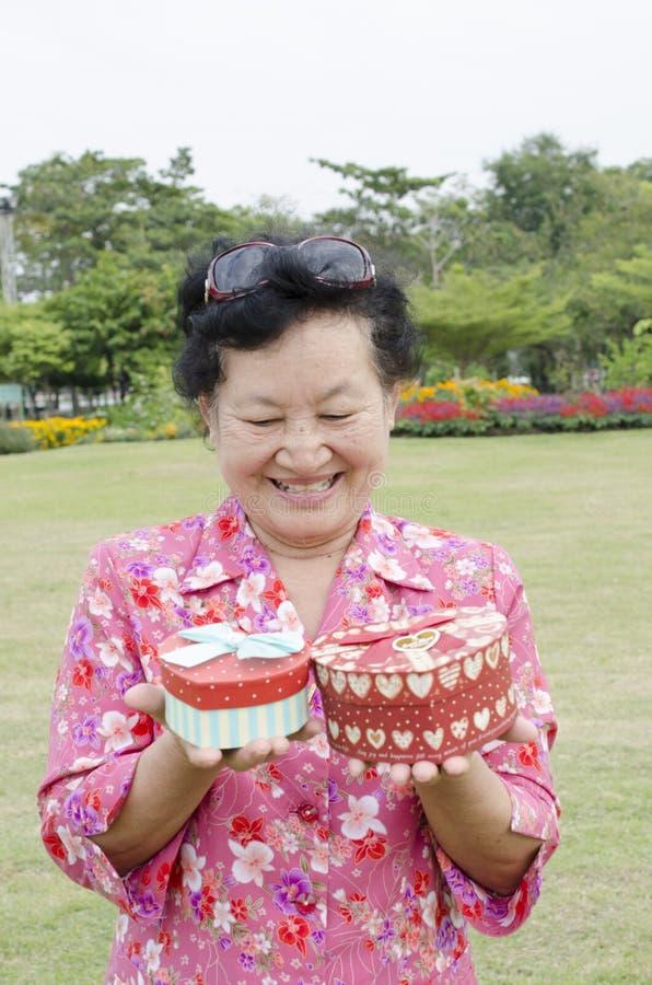 Portret van Aziatische bejaarden bij het park stock foto's