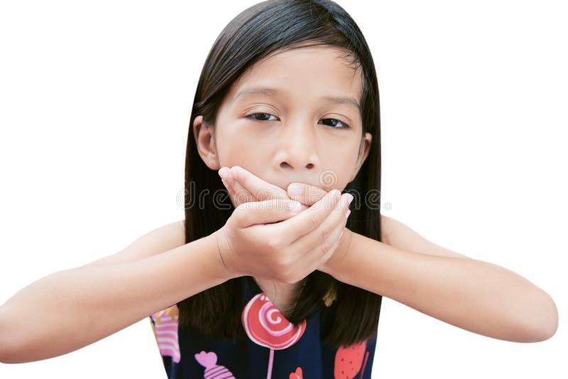 Portret van Aziatische meisje geeuw op witte achtergrond met het knippen van weg stock fotografie