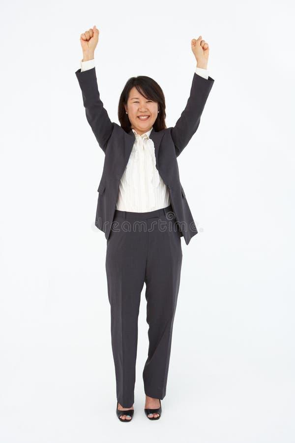 Portret van bedrijfsvrouw in kostuum stock foto's