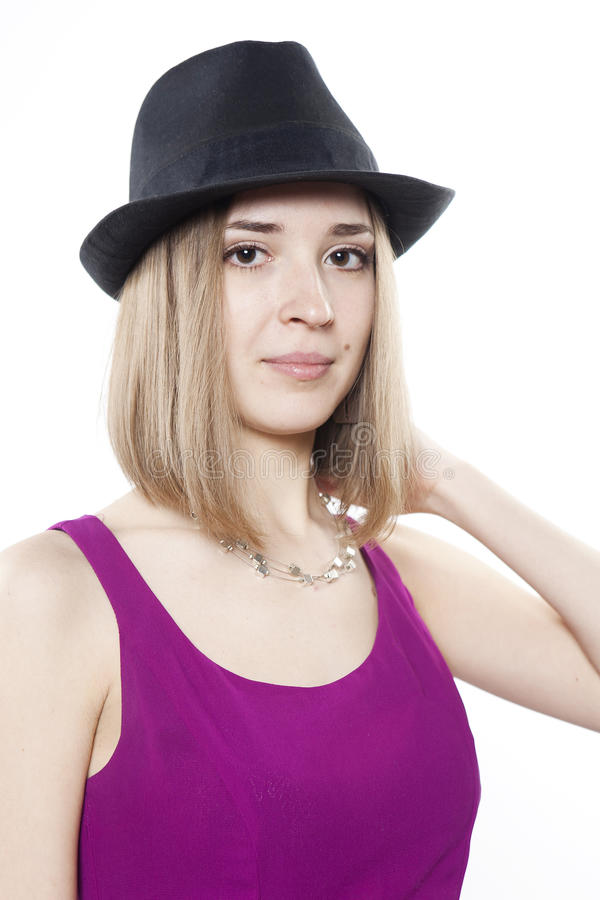 Portret van blonde kalme vrouw stock foto's