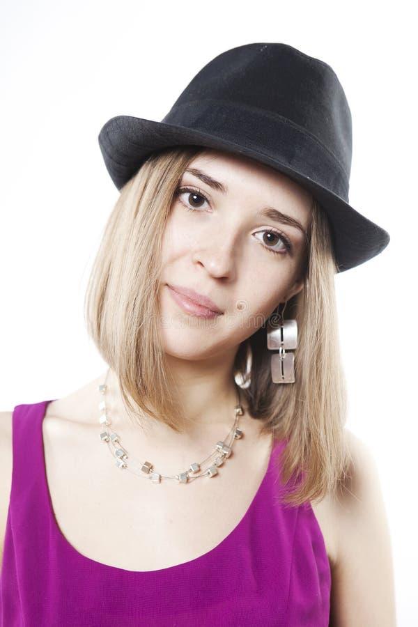 Portret van blonde kalme vrouw royalty-vrije stock foto's