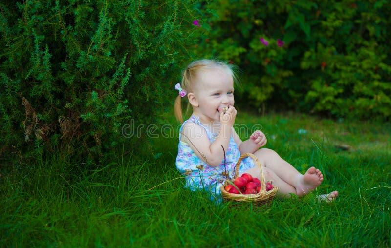 Portret van blondemeisje met rode appelen royalty-vrije stock afbeelding