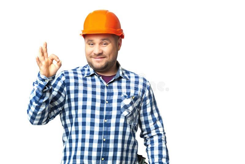 Portret van bouwbouwer op wit wordt geïsoleerd dat royalty-vrije stock foto's