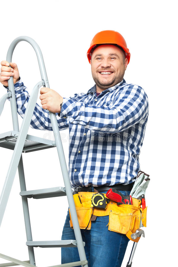 Portret van bouwbouwer op wit wordt geïsoleerd dat royalty-vrije stock fotografie
