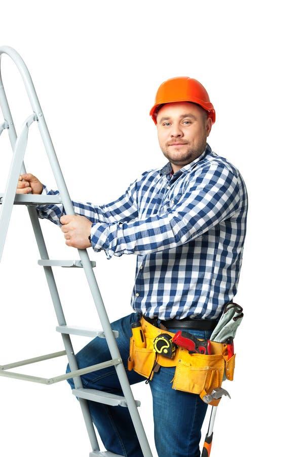 Portret van bouwbouwer op wit wordt geïsoleerd dat stock afbeeldingen