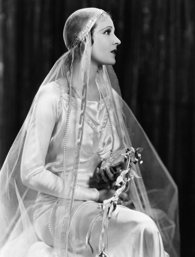 Portret van bruid (Alle afgeschilderde personen leven niet langer en geen landgoed bestaat Leveranciersgaranties dat er geen mod. royalty-vrije stock foto's