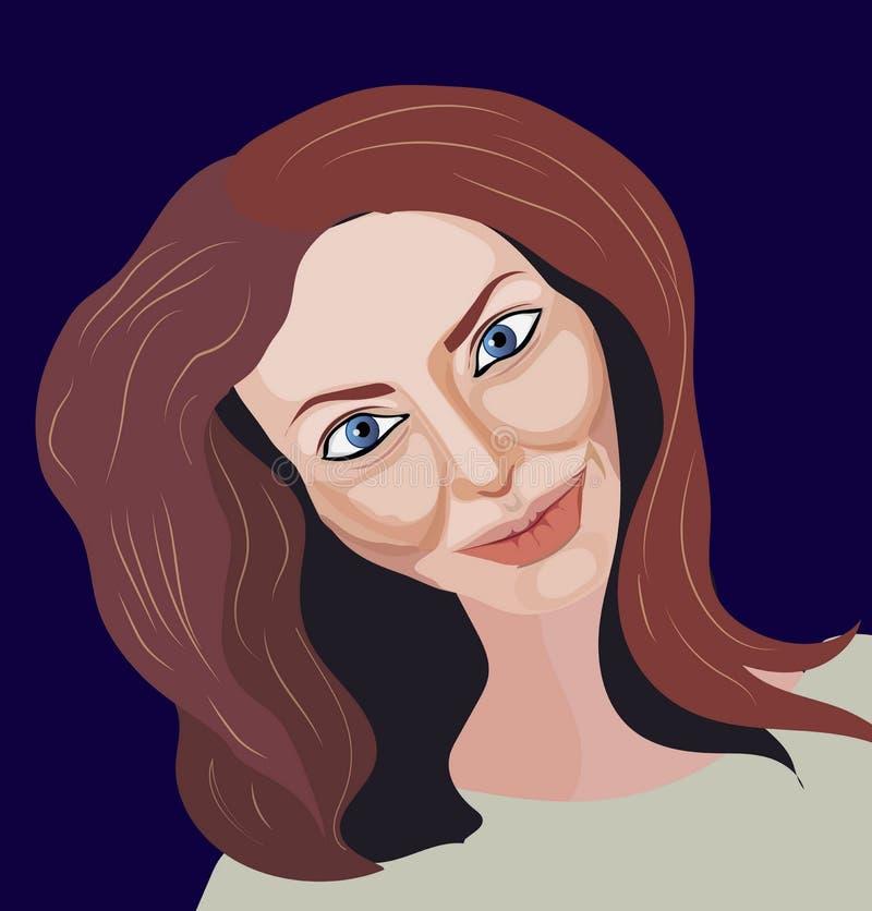 Portret van bruin-haarmeisje royalty-vrije illustratie