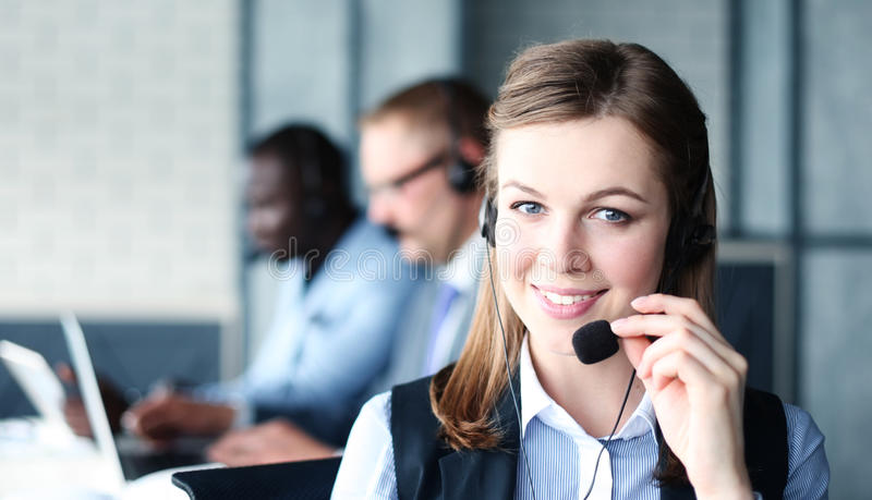 Portret van call centrearbeider royalty-vrije stock foto