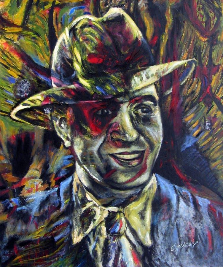 Portret van Carlos Gardel het Creoolse ZorzalOriginal-kunstwerk van Argentijnse tango Buenos aires, Argentinië stock illustratie