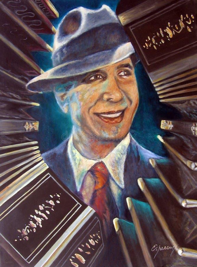 Portret van Carlos Gardel het Creoolse ZorzalOriginal-kunstwerk van Argentijnse tango Buenos aires, Argentinië royalty-vrije stock foto
