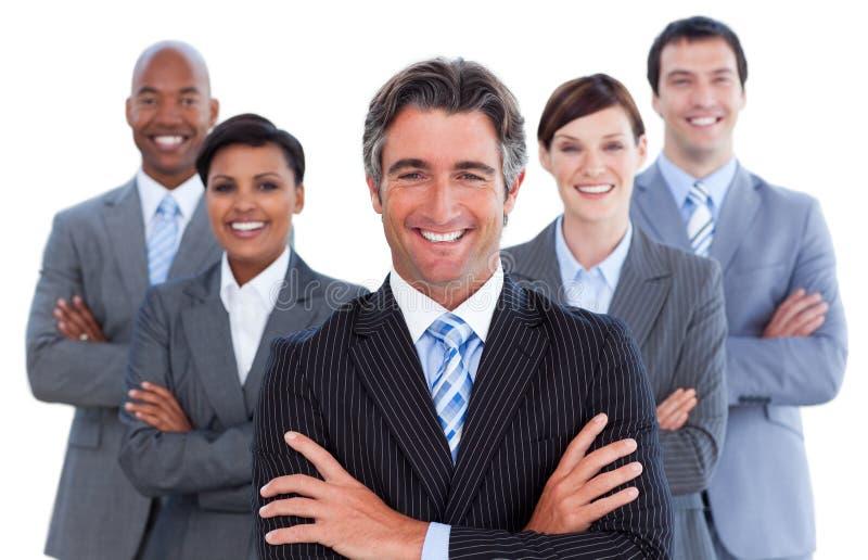 Portret van concurrerend commercieel team stock fotografie