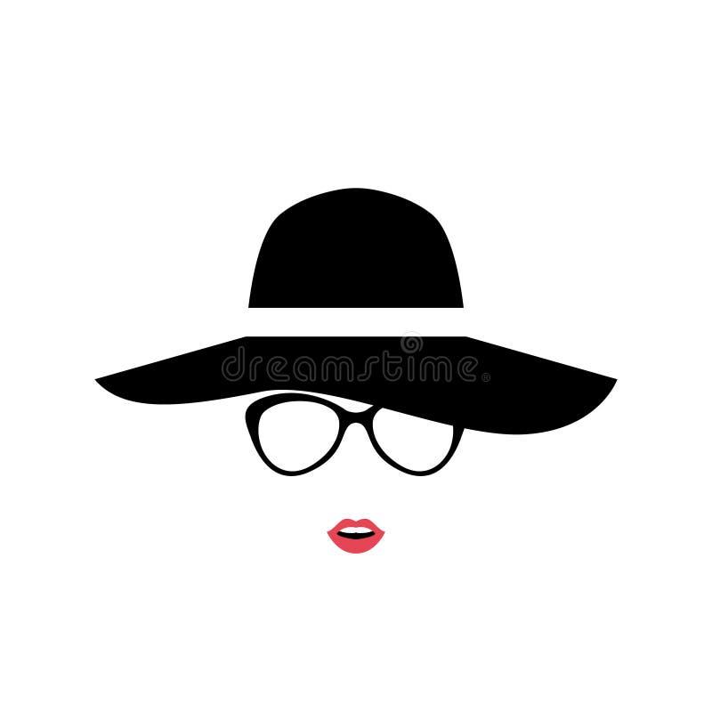 Portret van Dame in modieuze hoed en glazen royalty-vrije illustratie