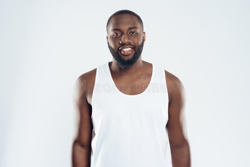 Portret van de Afrikaanse Amerikaanse glimlachende mens stock afbeelding