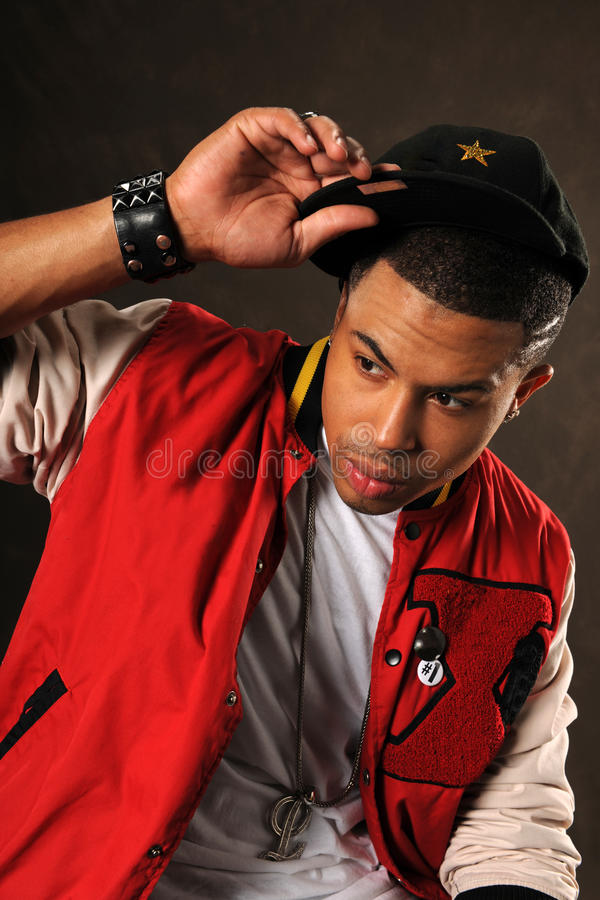 Portret van de Afrikaanse Amerikaanse Mens van Hip Hop stock afbeeldingen