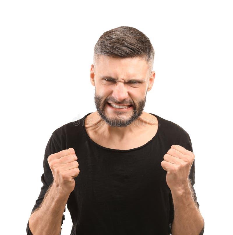 Portret van de agressieve mens op witte achtergrond stock afbeeldingen