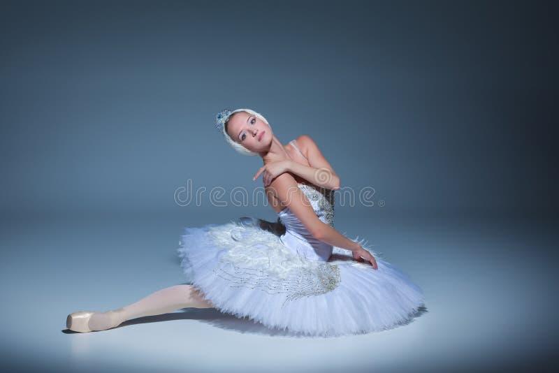 Portret van de ballerina in ballettatu op blauwe achtergrond royalty-vrije stock foto's