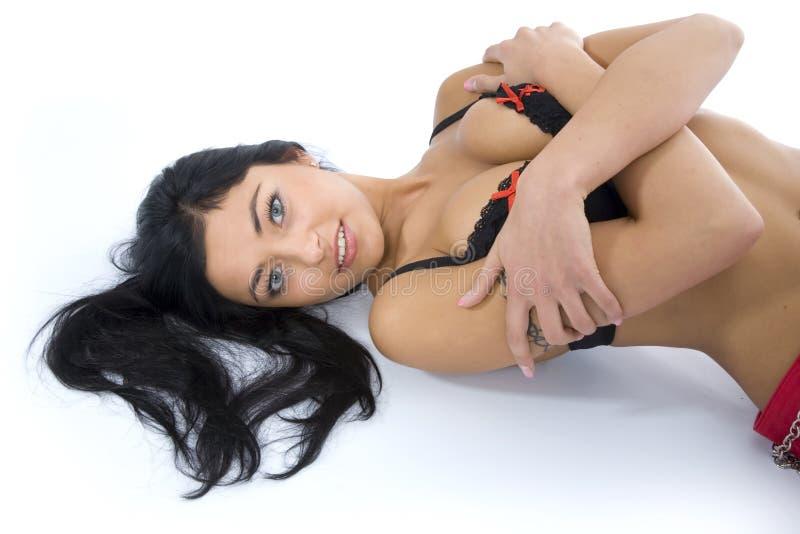 Portret van de brunette met blauw oog royalty-vrije stock foto