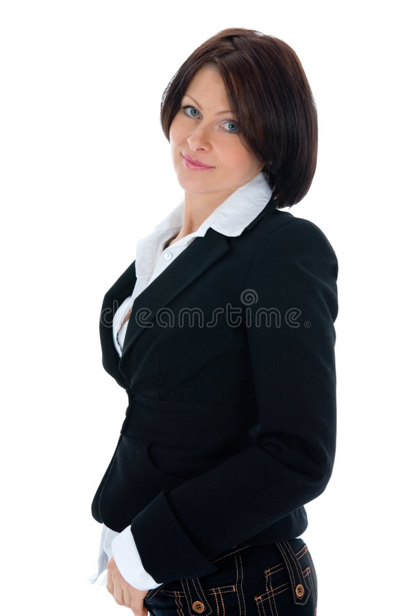 Portret van de brunette met blauw oog stock fotografie