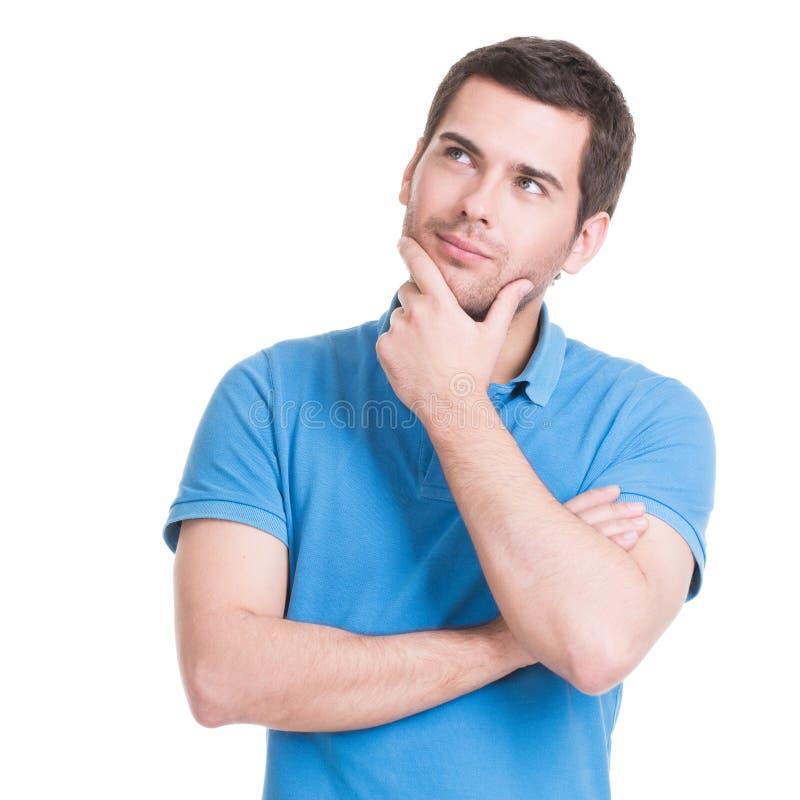 Portret van de denkende man die omhoog kijken. royalty-vrije stock afbeelding