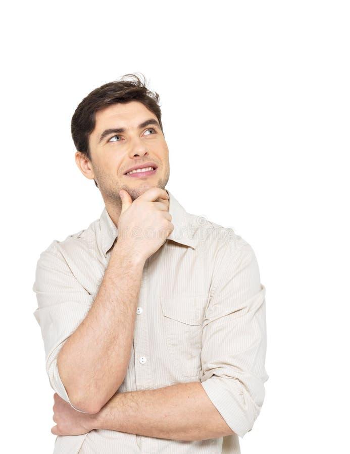 Portret van de denkende man in toevallig royalty-vrije stock foto's