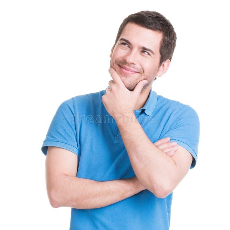 Portret van de denkende man in toevallig royalty-vrije stock afbeelding