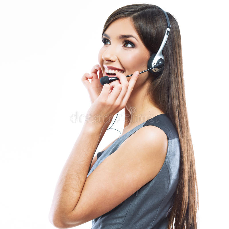 Portret van de dienstarbeider van de vrouwenklant, call centre die o glimlachen royalty-vrije stock afbeeldingen