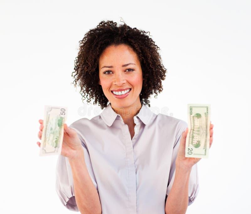 Portret van de dollars van de onderneemsterholding stock afbeelding