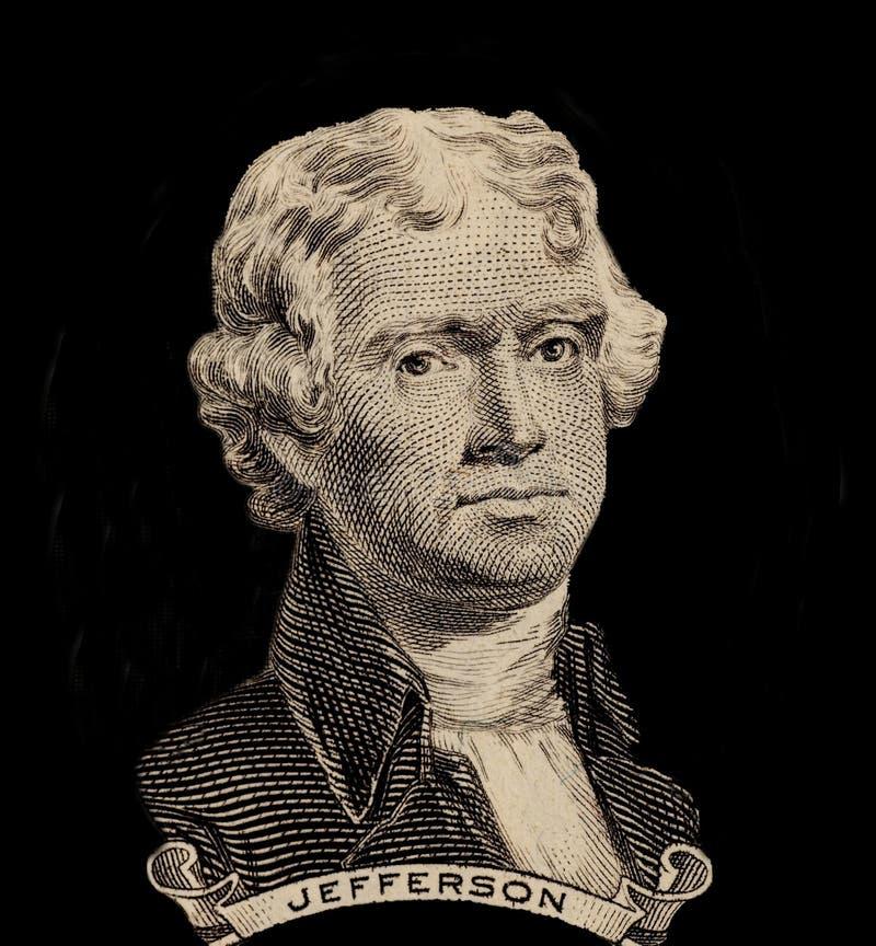 Portret van de eerste V S President Thomas Jefferson royalty-vrije stock fotografie