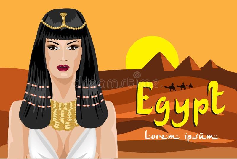 Portret van de Egyptische vrouw Achtergrondwoestijn royalty-vrije illustratie