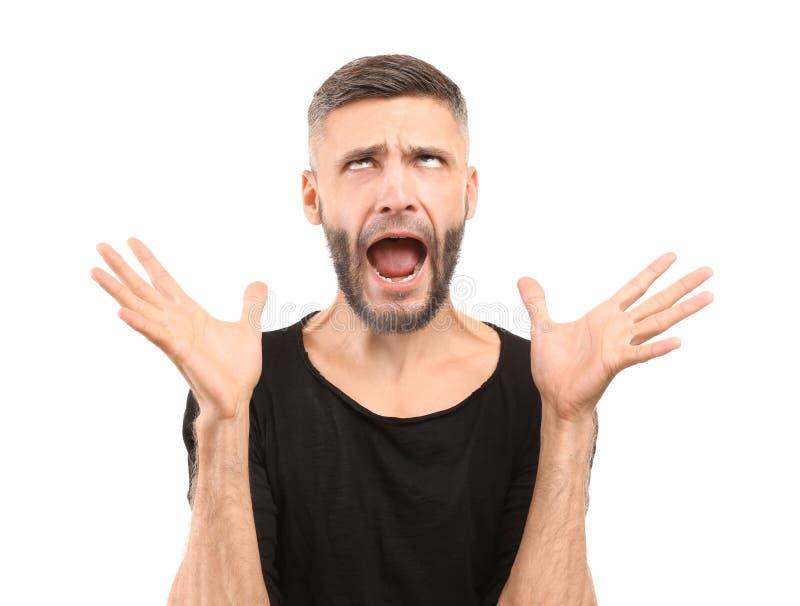 Portret van de emotionele mens op witte achtergrond stock afbeeldingen