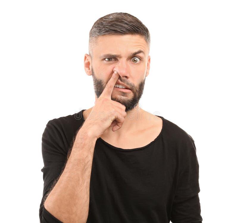 Portret van de emotionele mens op witte achtergrond stock fotografie
