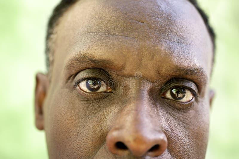 Portret van de ernstige oude zwarte mens die camera bekijken stock afbeeldingen