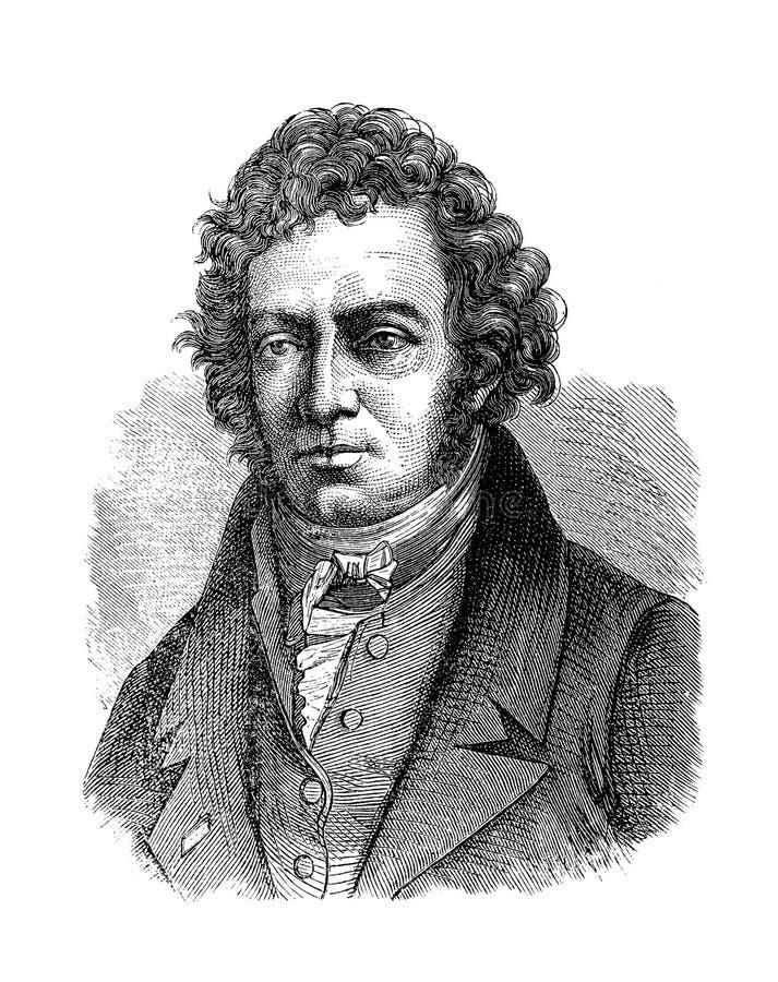 Portret van de Franse fysicus van andré-Marie Ampére stock illustratie