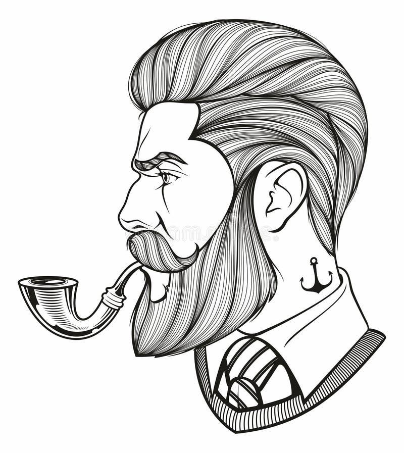 Portret van de gebaarde mens stock illustratie