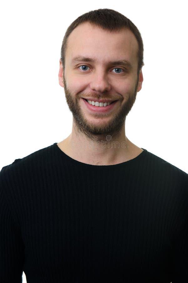 Portret van de gebaarde mens met toothy glimlach royalty-vrije stock foto's