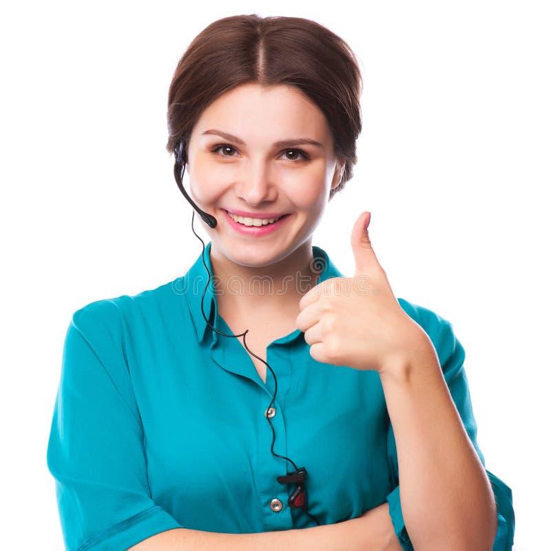 Portret van de gelukkige glimlachende vrolijke jonge exploitant van de steuntelefoon stock foto
