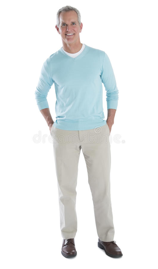 Portret van de Gelukkige Rijpe Mens in Slimme Toevallig stock foto's
