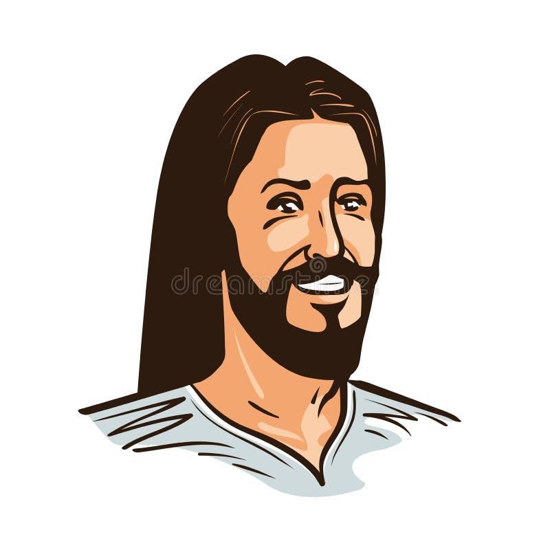 Portret van de gelukkige vectorillustratie van Jesus Christ Cartoon stock illustratie