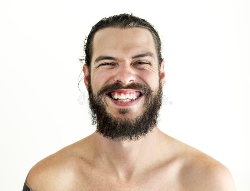 Portret van de getatoeeerde mens met het glimlachen gezicht stock fotografie