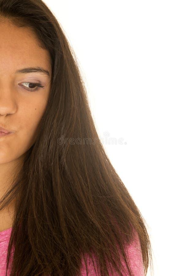 Portret van de helft van het gezicht van het Spaanse tienermeisje royalty-vrije stock afbeeldingen