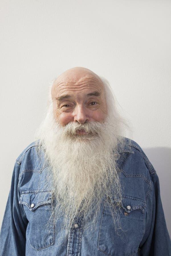 Portret van de hogere mens over grijze achtergrond royalty-vrije stock foto