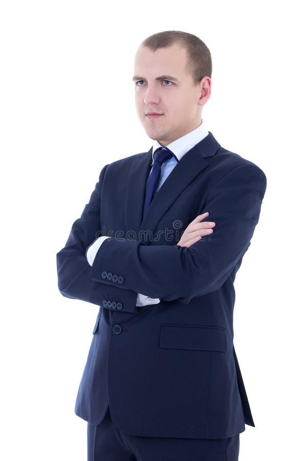 Portret van de jonge die mens in pak op wit wordt geïsoleerd royalty-vrije stock afbeeldingen